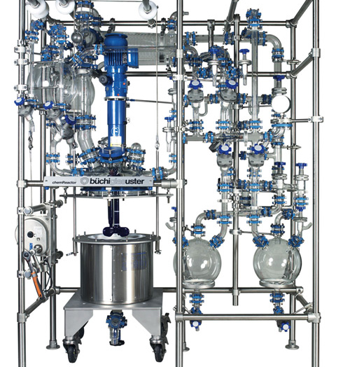 CR15-K ChemReactor Glass and Glass Lined Steel Jacketed Reactor with Glass Distillation Overhead